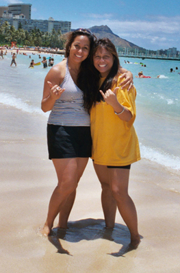 Cynthia Regohos Baldau and Karen Sabog on Waikiki Beach