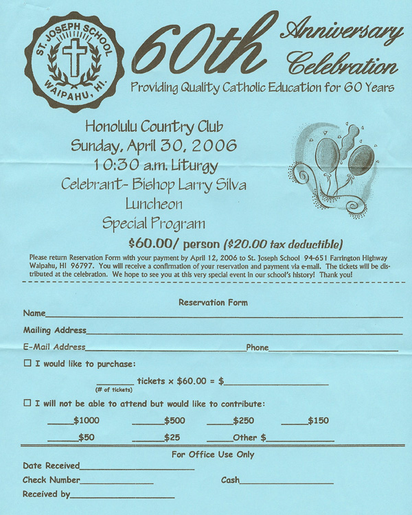 St Joseph School 60Th Anniversary -- Honolulu Country Club